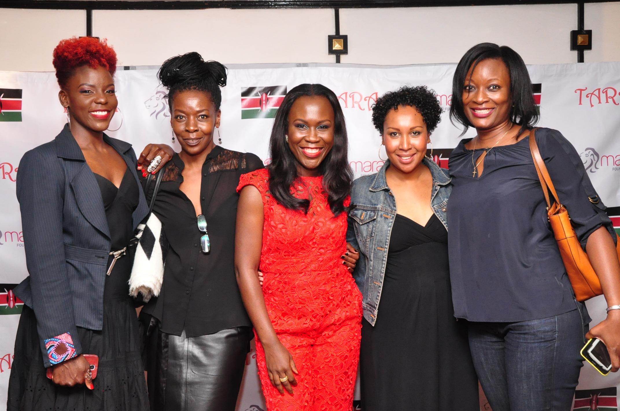 Tara  Fela-Durotoye  (centre) at the Kenyan launch of House of Tara