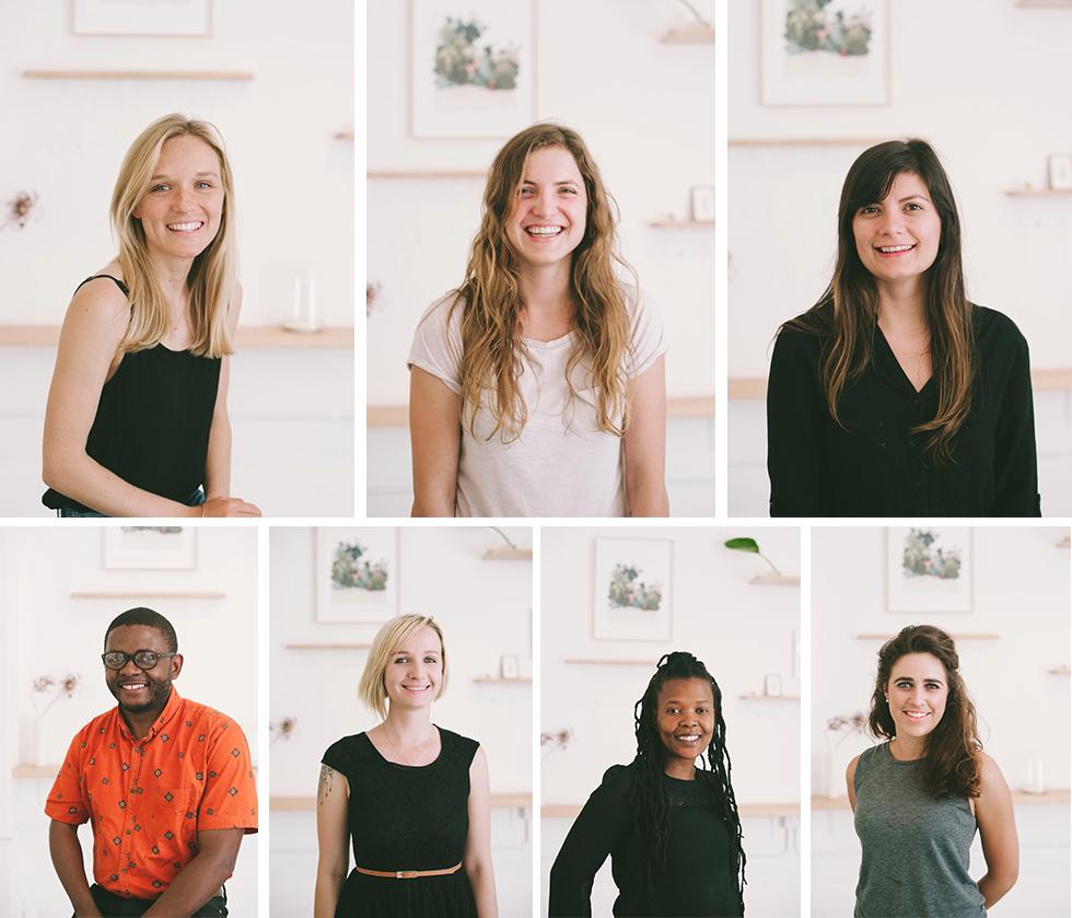 The creative team at Dear Rae Jewellery -Top: Karin, Maryke and Amy. Bottom: Raymond, Rachel, Morgan and Cecilia.