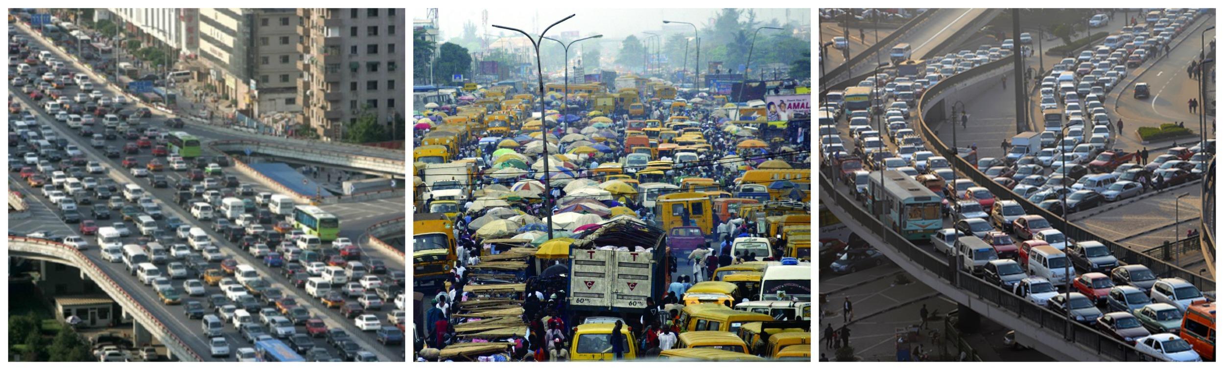 African traffic jams: Johannesburg, Lagos & Nairobi