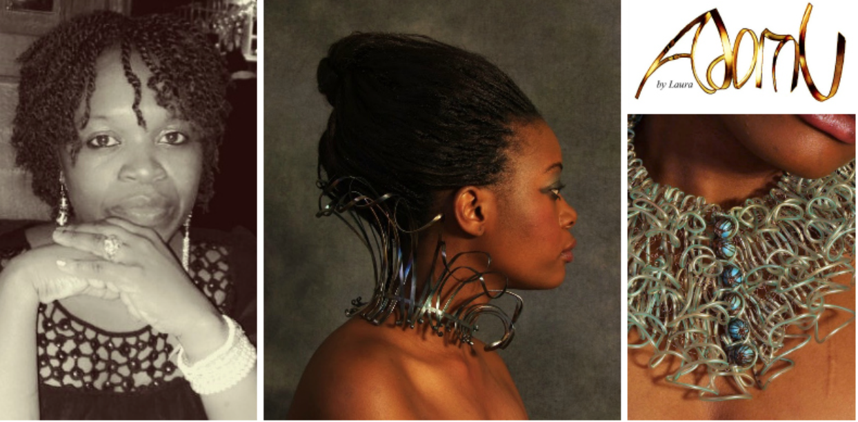 Laura Nyahuye , founder ofAdornU(Zimbabwe) is atalented avant-garde Zimbabwean jewellery designer, who is challenging existing notions of jewellery design with her company, Adornu. Click to learn more.