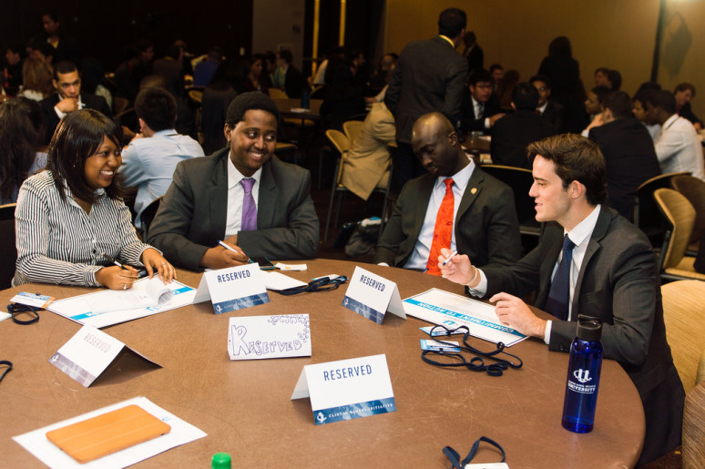 Cofounder Priscilla engages in discussion with other Commitment Makers at the Clinton Global Initiative University.jpg