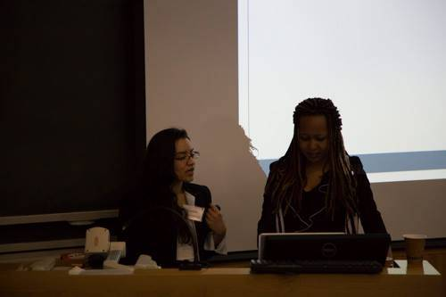 Cofounders Priscilla and Daniela prepare to present at the AMKA 2015 Conference on Education in Africa at Middlebury College.jpg