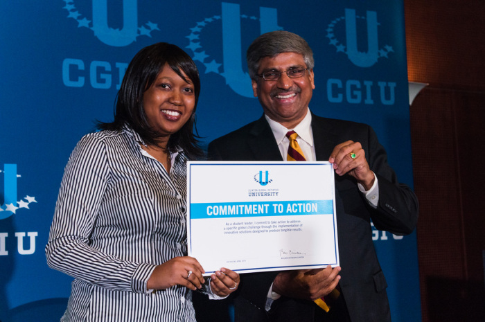 Priscilla, co-founder of ST, receives award at the Clinton Global Initiative University.jpg