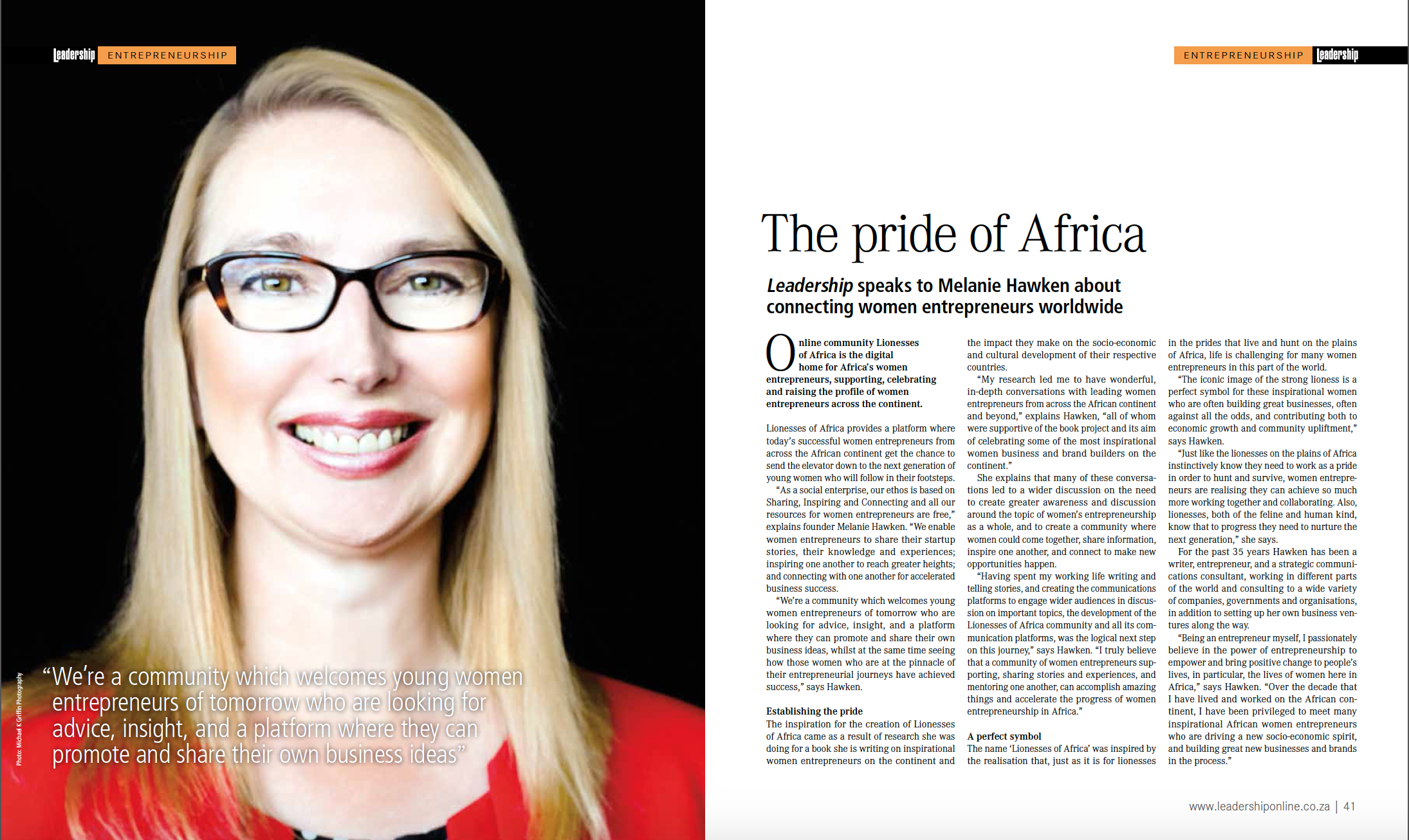Melanie Hawken , LoA founder and editor-in-chief featured in Leadership Magazine (August 2015 Issue)