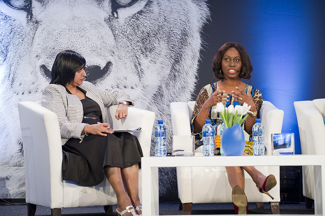 Ethel Cofie  (R) speaking at the Lionesses of Africa Annual Conference 2016 'Women in Tech' Panel
