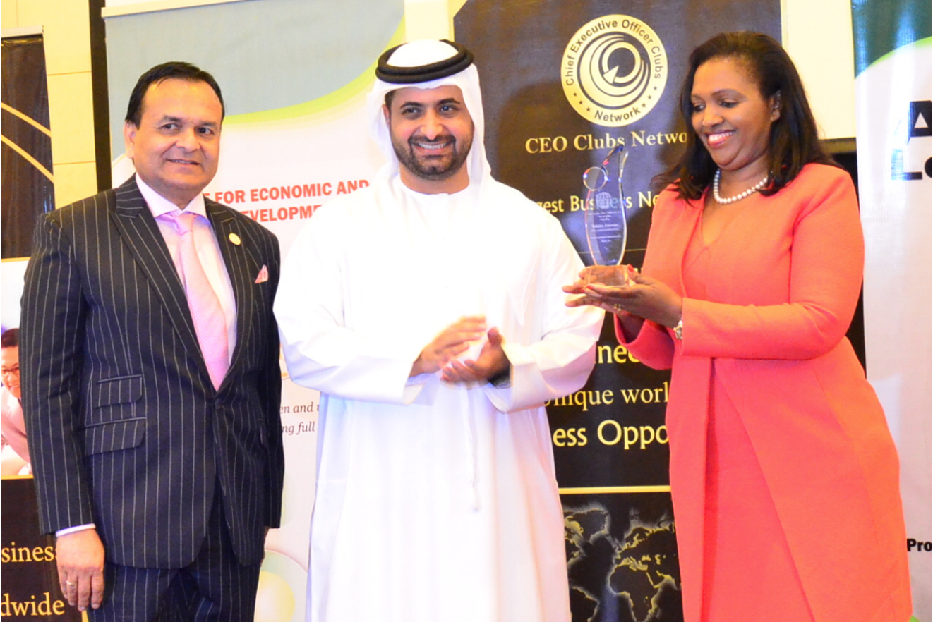 From Left, Dr. Tariq Ahmed Nizami, CEO – CEO clubs network Worldwide, H.E Sheikh Juma Bin Maktoum Juma Al Maktoum, Mrs. Tabitha Karanja, CEO- Keroche Breweries