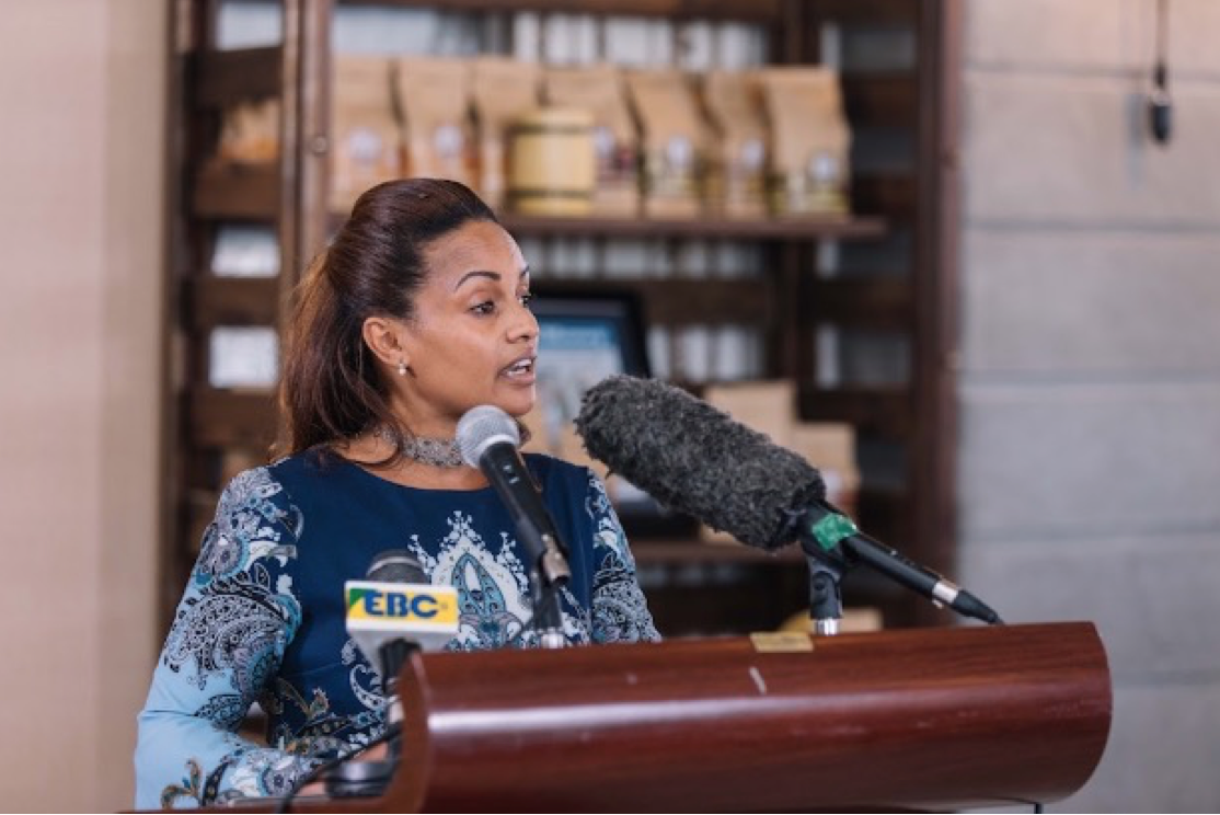 Bethlehem Tilahun Alemu speaks at the opening of the Garden of Coffee roastery in Addis Ababa