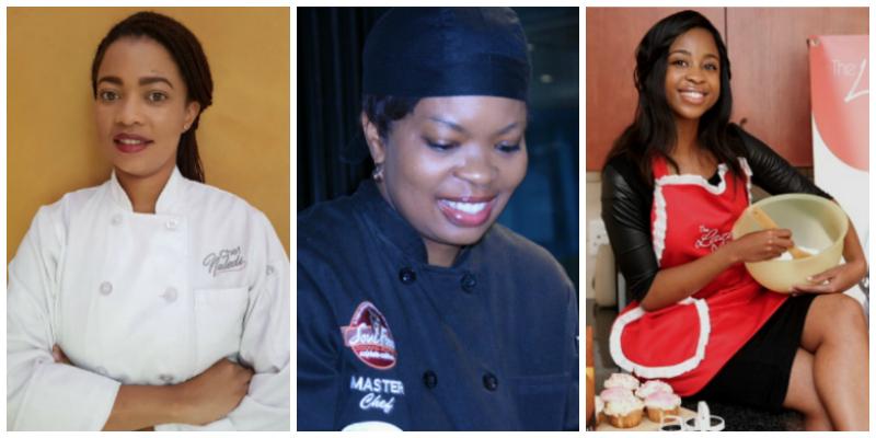 L-R:Chef Naledi,Chef Teddy,Mogau Seshoene (The Lazy Makoti)