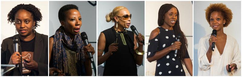 L-R:Dr Gladys Kalema-Zikusoka,Kim Addison, Adele Dejak, Akosua Afriyie-Kumi, Swaady Martin