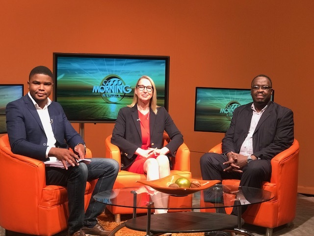 Melanie Hawken interviewed on Good Morning Namibia television show before the start of the UNESCO IPDC talks, speaking about women's economic empowerment through entrepreneurship and access to the digital economy.