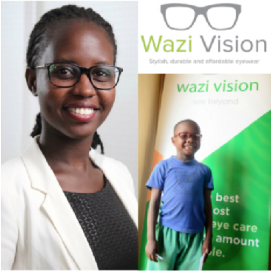 BRENDA KATWESIGYE, founder of Wazi Vision (Uganda) - Wazi focuses on helping everyone access quality eye care, without paying hefty sums for it. They understand that good eye sight is critical to overall health and well being – especially for children and that is why they have created affordable eye glasses that are designed and made from recycled plastic in Uganda and cost 80% less than what is currently on the market.