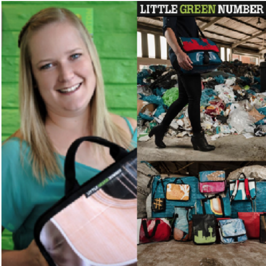 JAUNITA VAN DER MERWE, co-founder, Little Green Number (South Africa) - They turn ads into bags! Each one of their bags, made from recycled plastic billboards, is funky and unique. They are passionate about creating jobs AND saving the planet. One billboard at a time!