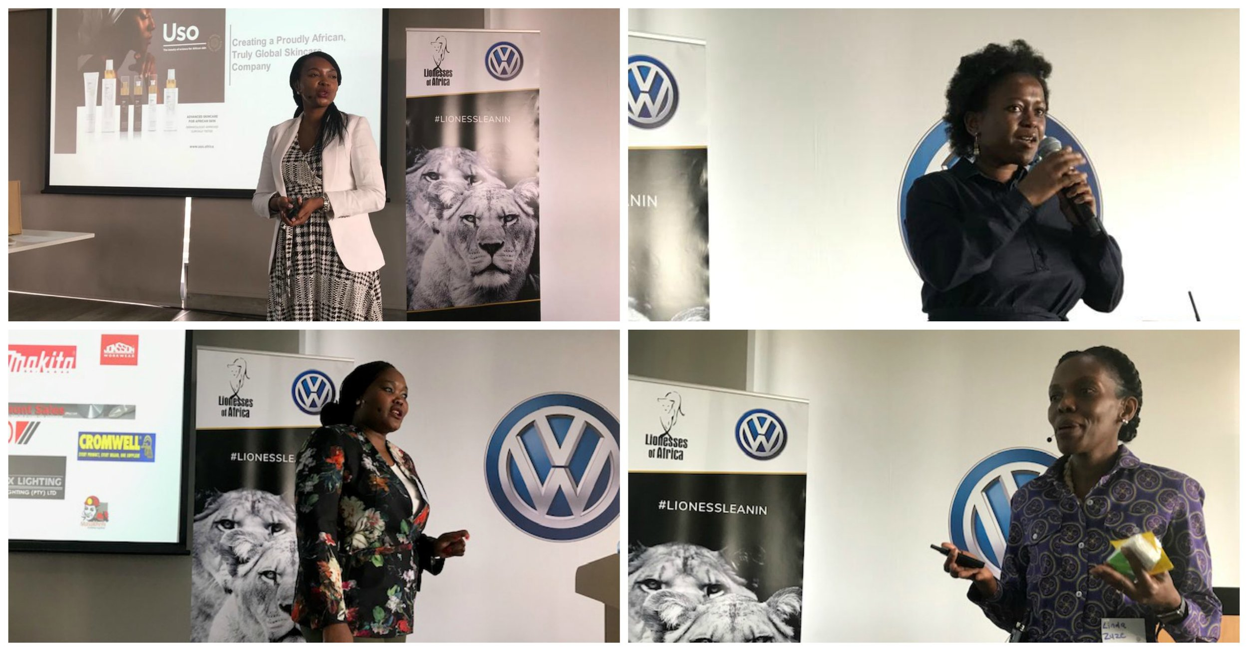 Top L-R: Dr Theo Mothoa, founder of African Dermal Science; Thandi Mbonwa, Corporate Sales Specialist at Volkswagen SA. Bottom L-R:Piliswa Schouten, founder of Masakheni Isizwe Mining and Construction; Linda Zuze, founder of Chimango Research