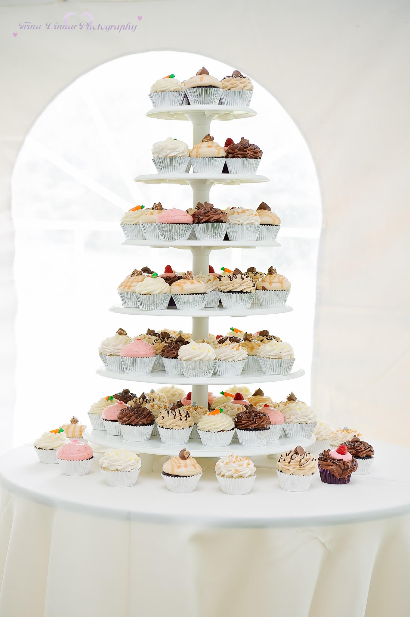 cupcake tiered wedding cake