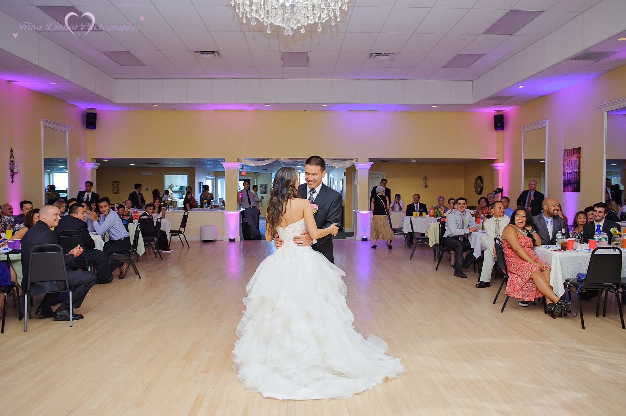 The bride and groom share their first dance at the Avant Dance Center in Westbrook, Maine