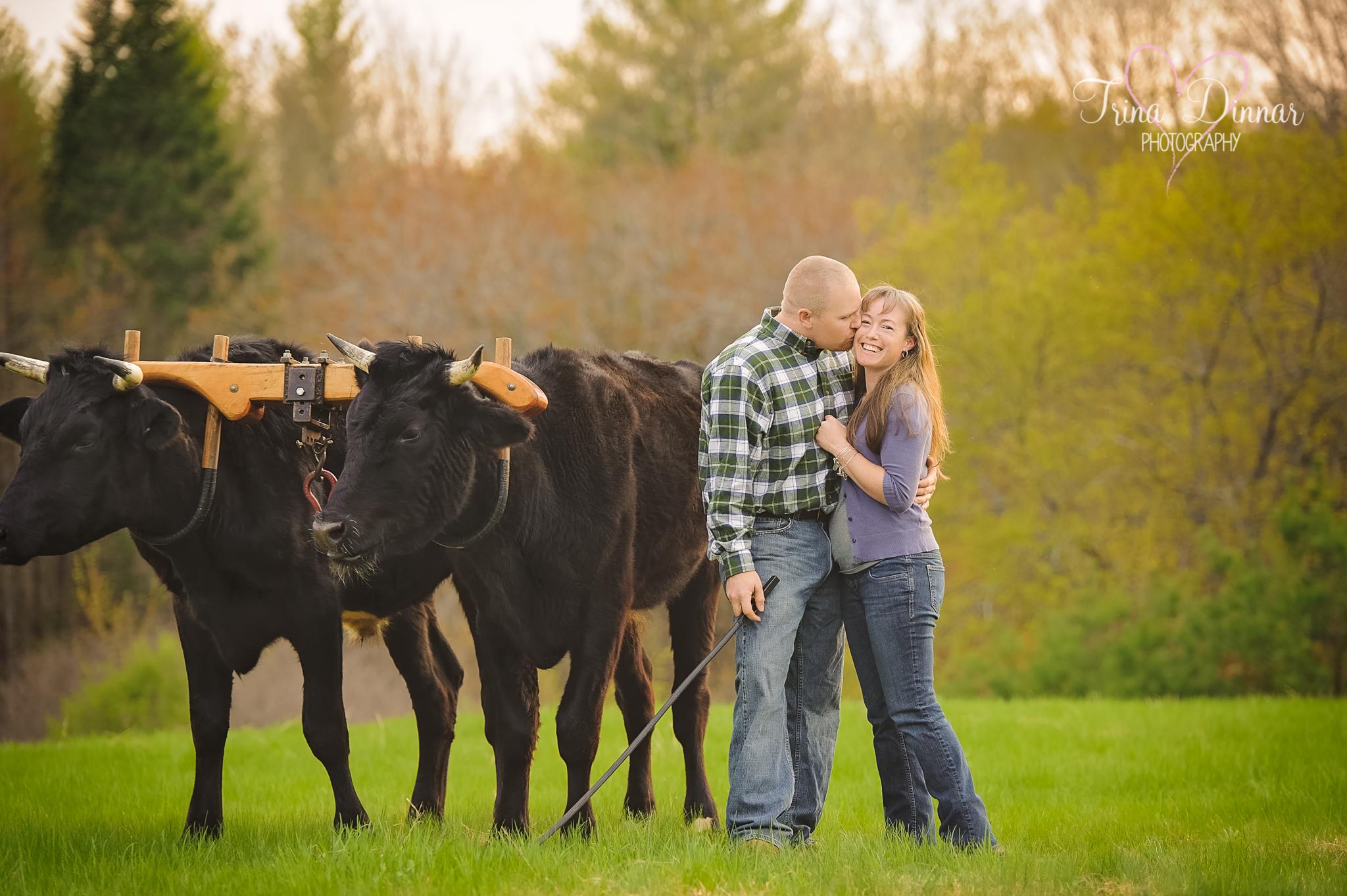 Maine wedding photographers anticipate the couple's rustic farm wedding
