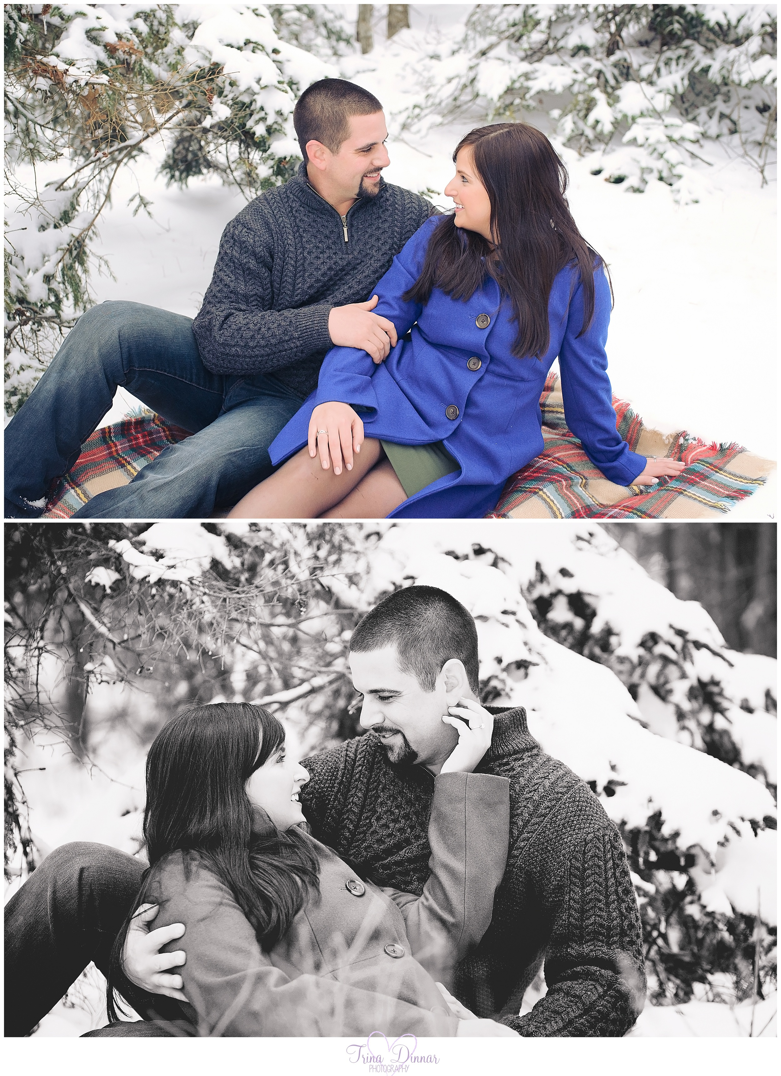 Winter engagement photos in Southern Maine.