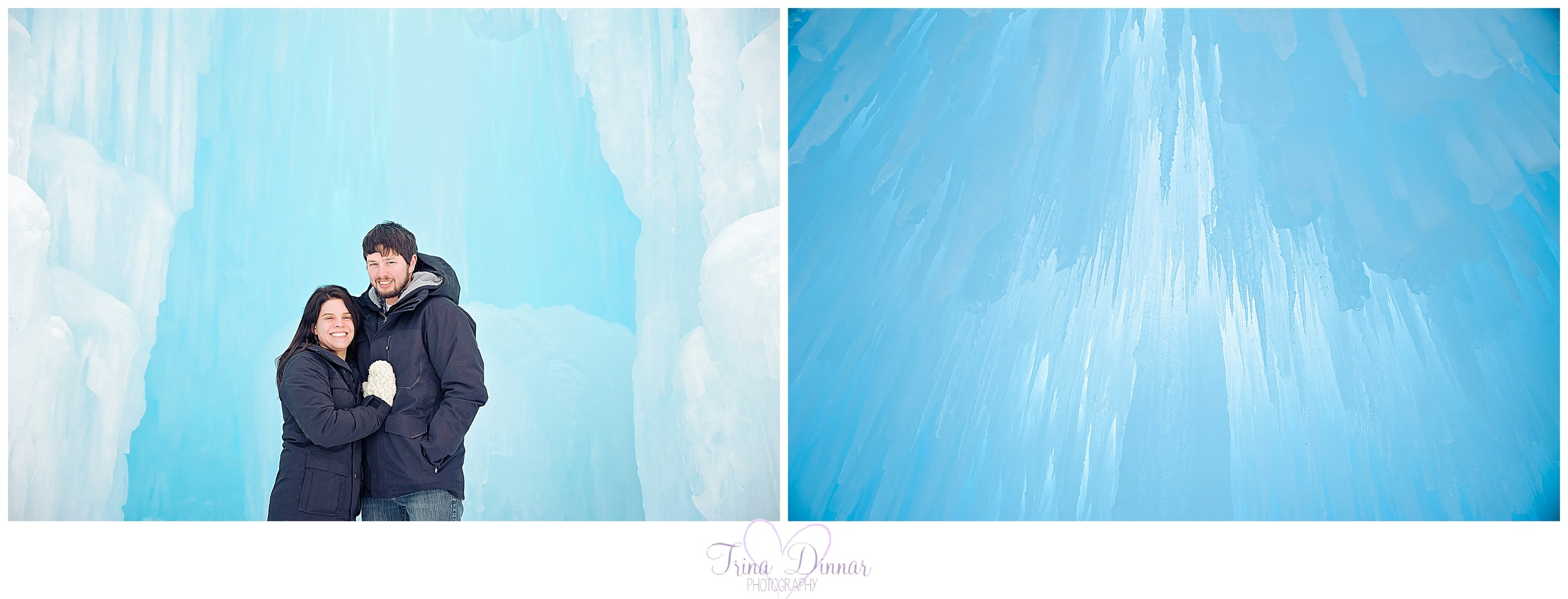 Maine photographer capturing portraits at the ice castles.