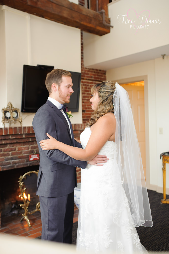 First look photographed by Maine wedding photographers, Trina Dinnar and Andrea Simmons.