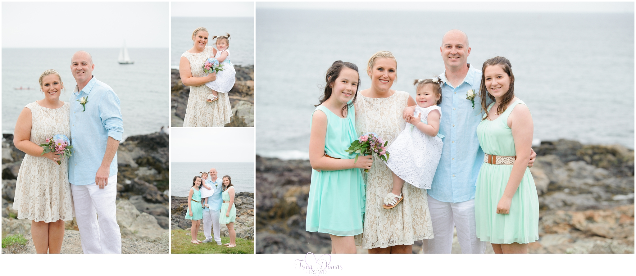 Beach wedding in Oqunquit Maine at Marginal Way. Bride Groom and their three daughters.