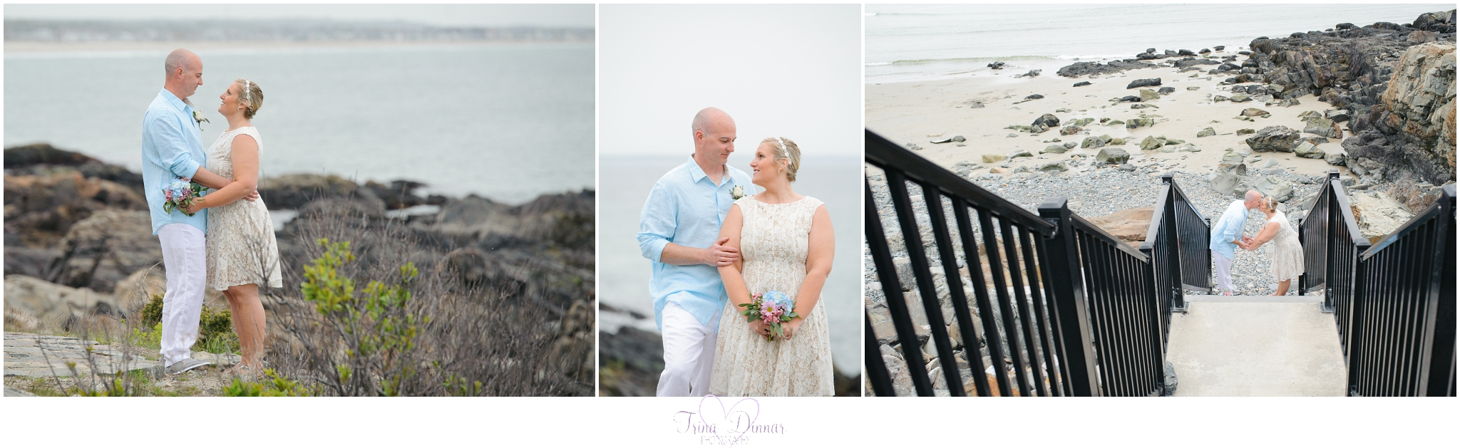 Southern Maine Beach Wedding Photographer, Trina Dinnar captures couples on their special day.