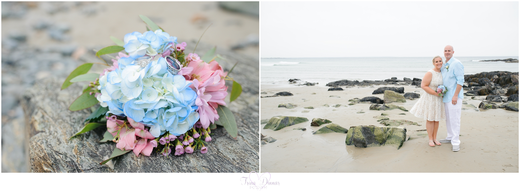 Beach wedding in Southern Maine photographed by Trina Dinnar Photography.
