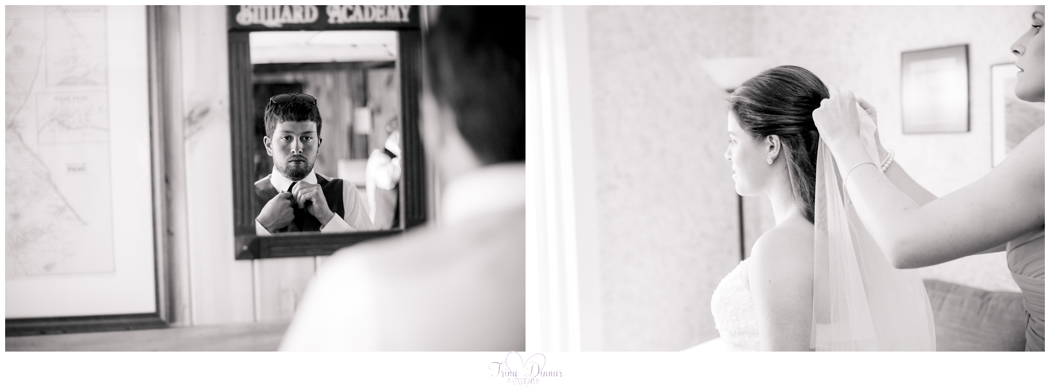 Bride and Groom getting ready at the Worthley Pond Farmhouse they rented for their wedding in Peru, Maine.