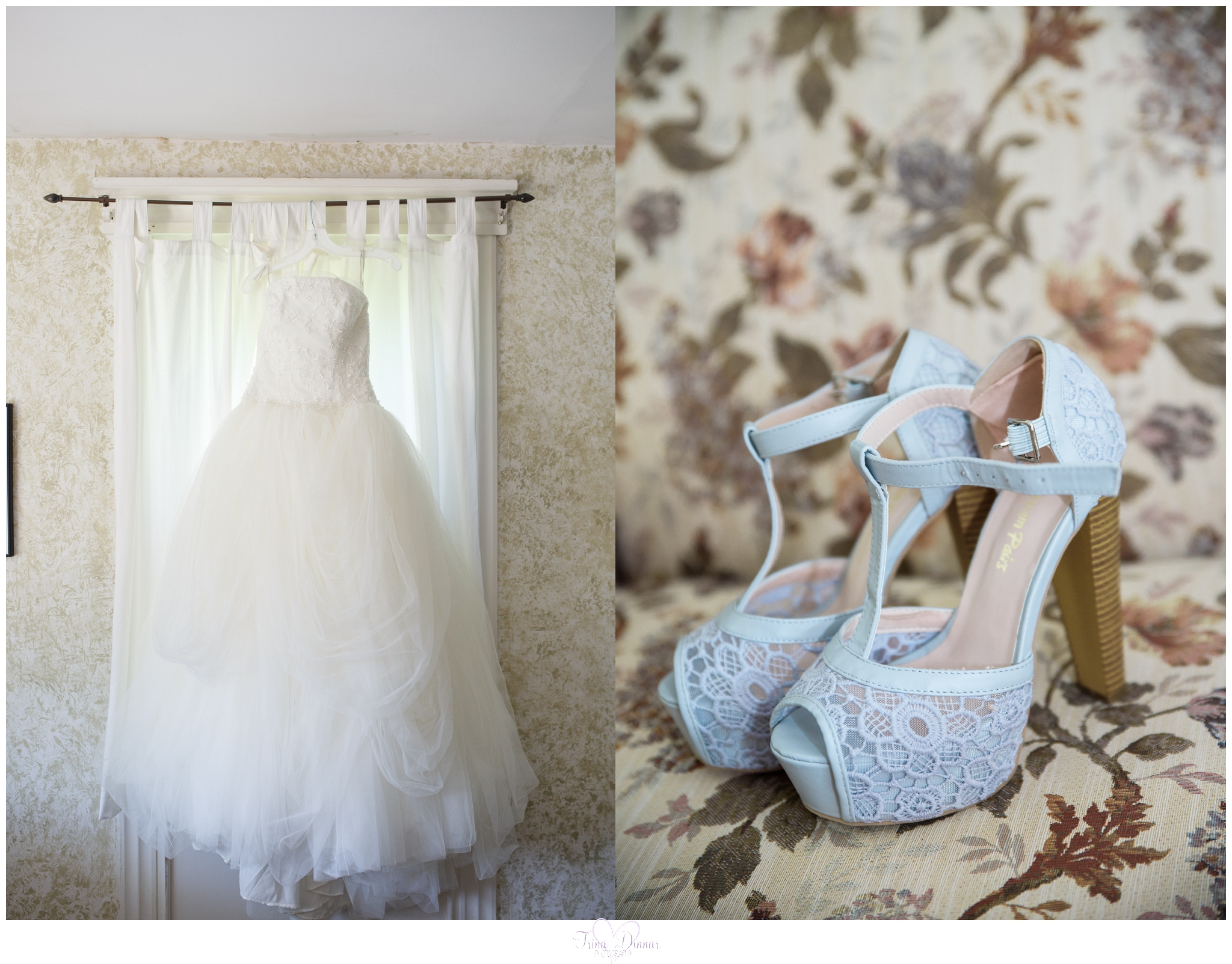 Vera Wang Bridal Gown and Shoes at the Peru Maine Worthley Farmhouse.
