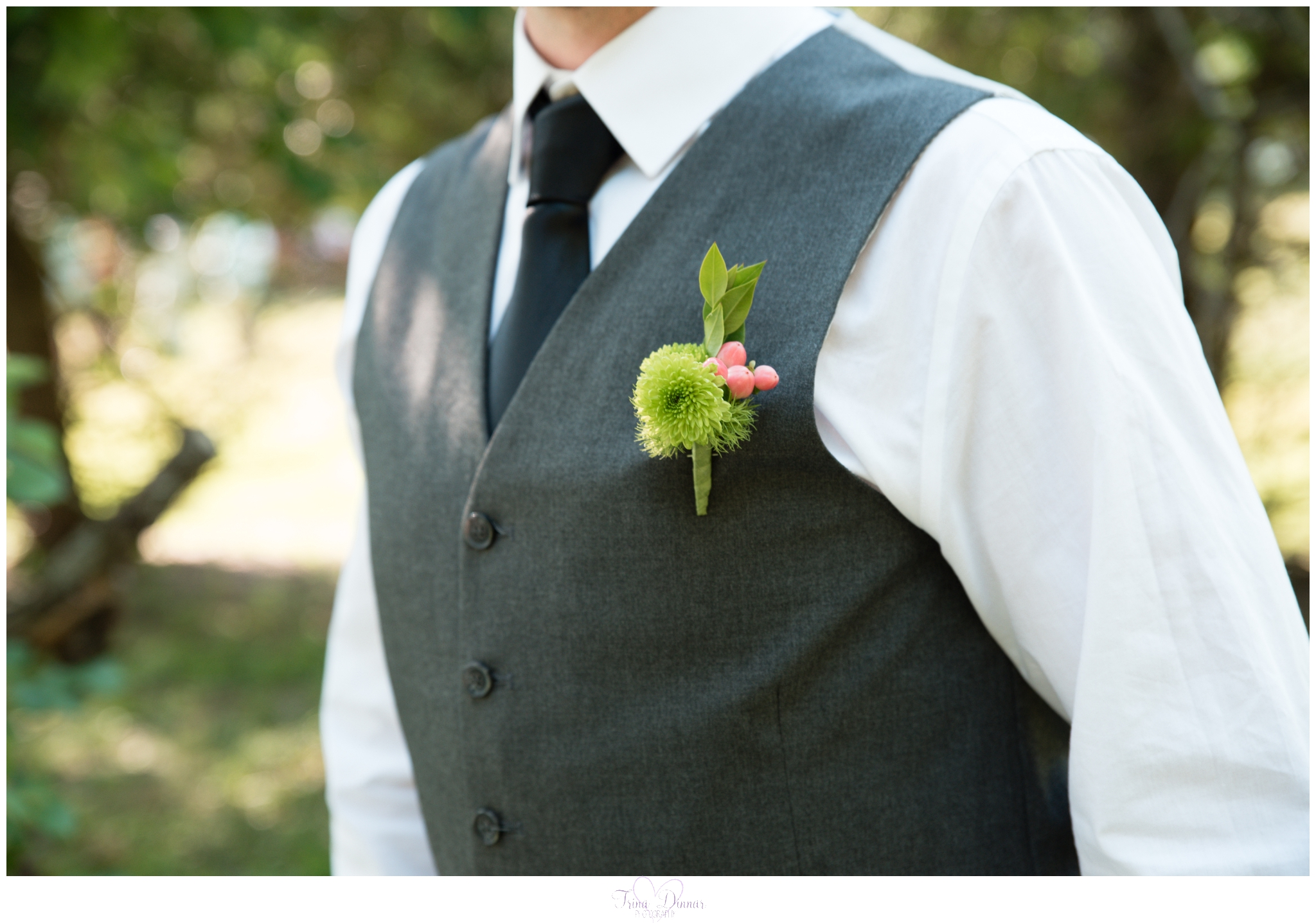 Groom's boutonniere from Pooh Corner Farm near Bethel, Maine