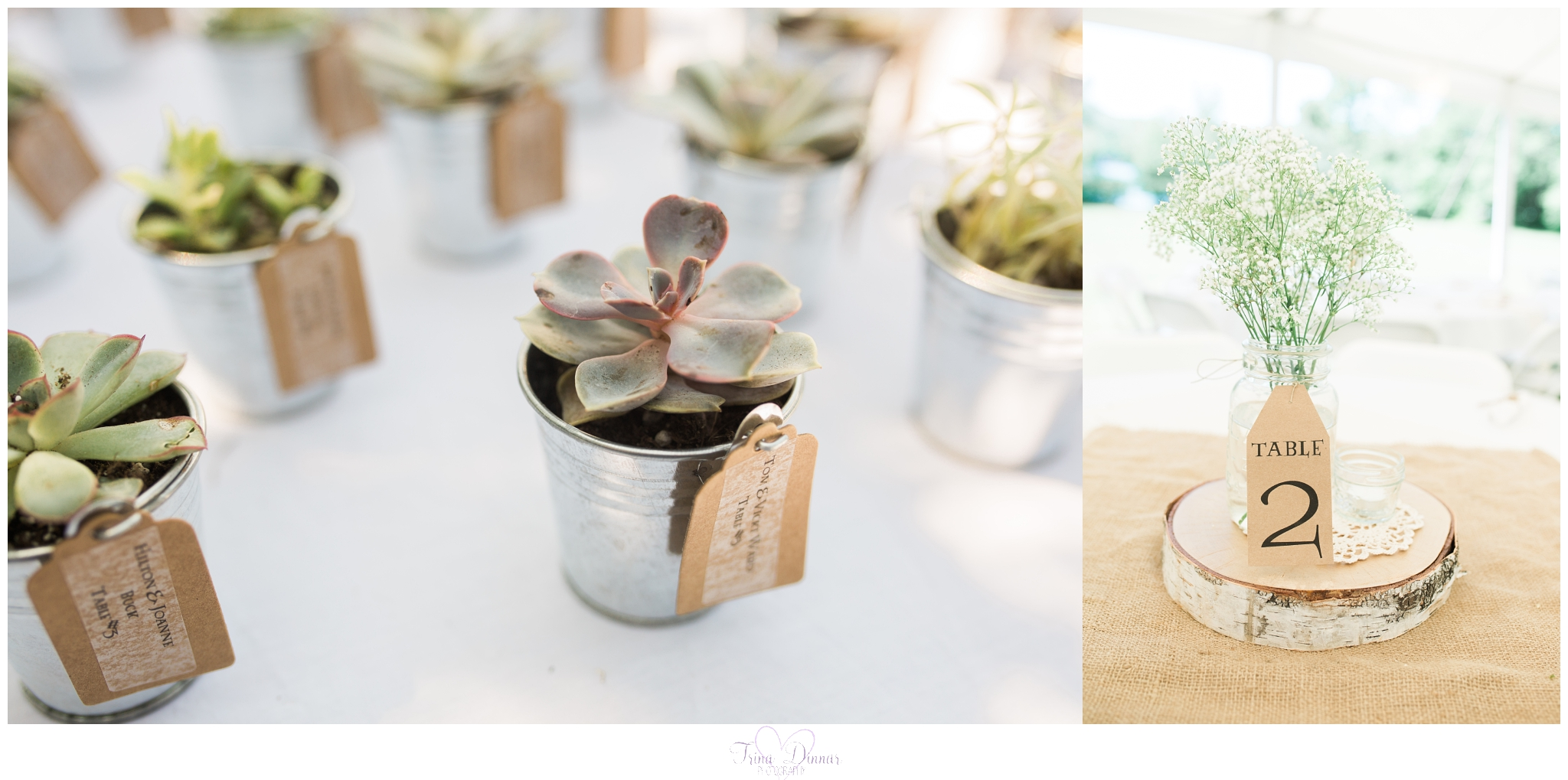 DIY rustic Maine wedding favors and reception table centerpiece decor.