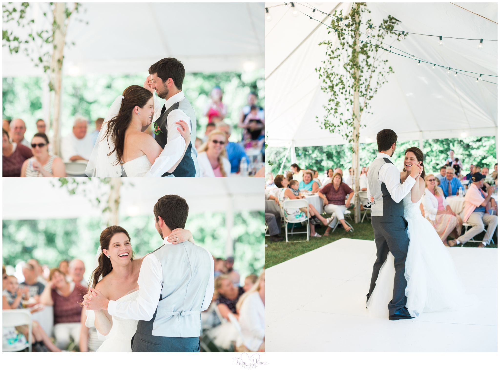 First dance at Worthley Farm tented wedding reception in Peru, Maine.