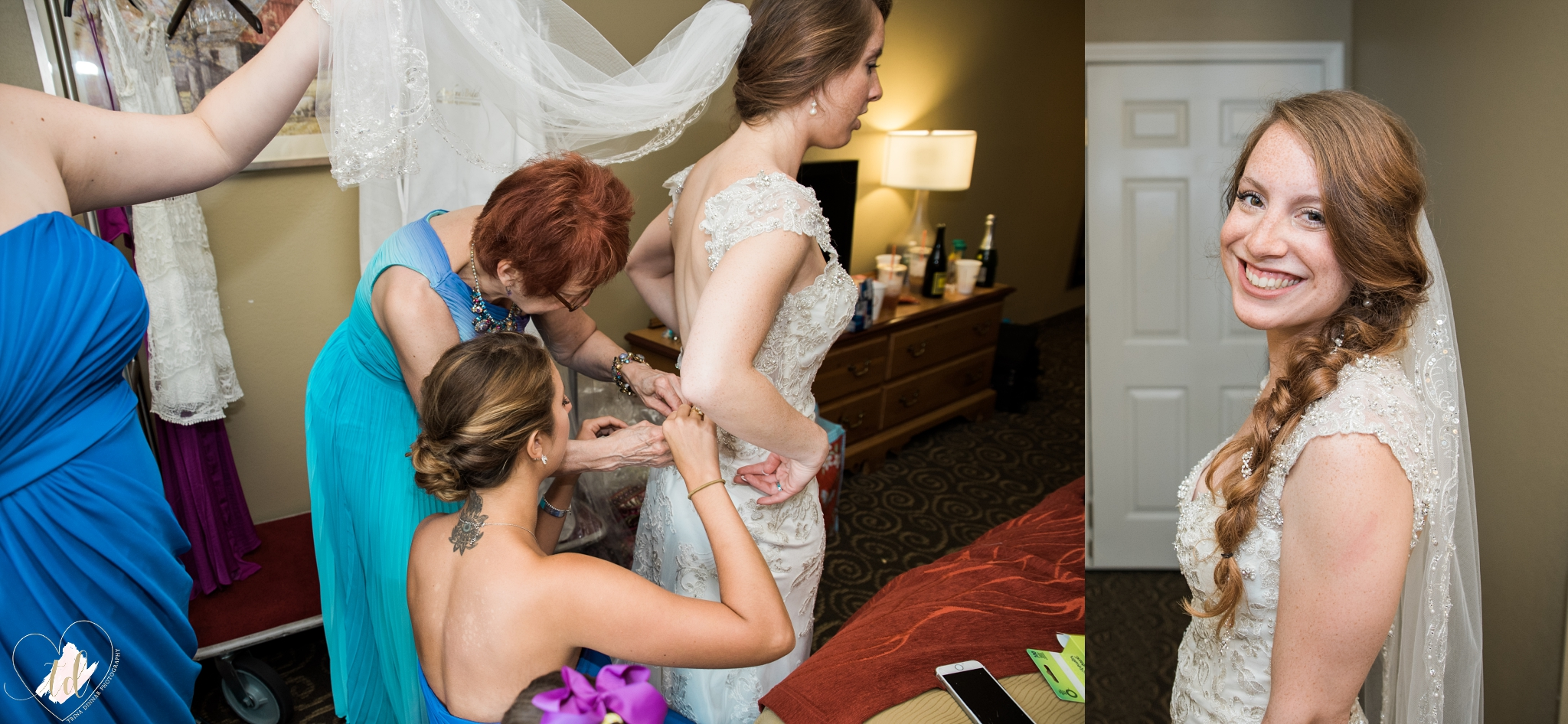 Bride putting on dress and veil at the Comfort Inn in Brunswick, Maine.