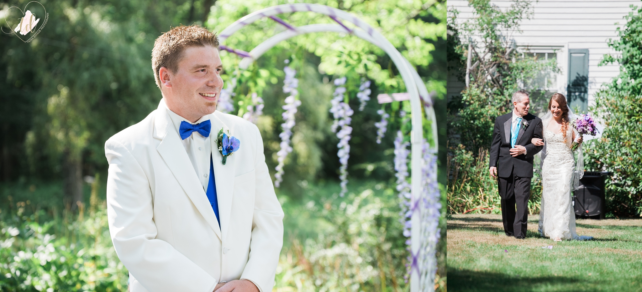 Maine groom sees his bride for the first time as she walks down the aisle.