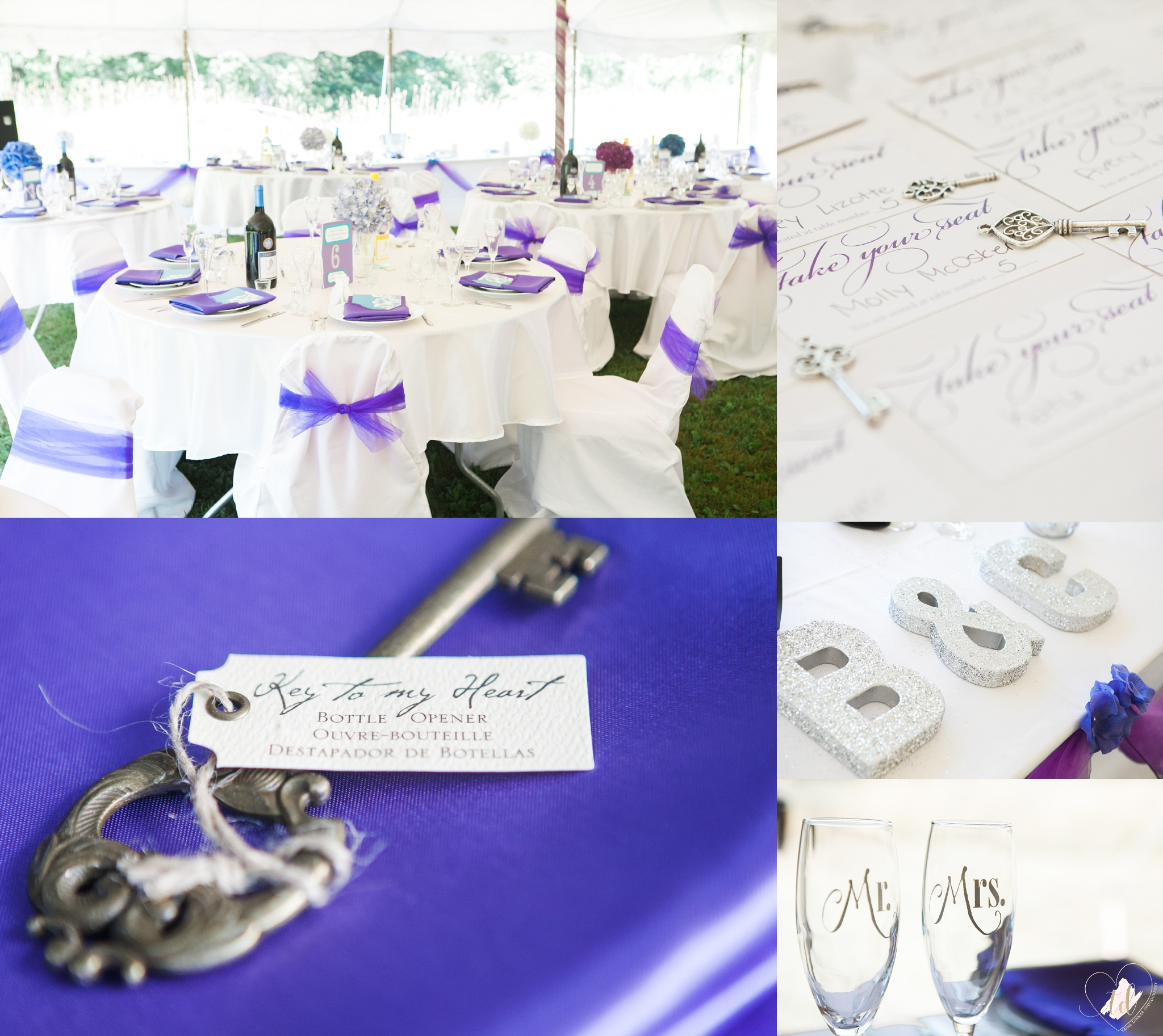 Wedding reception decor of purple, blue and teal with little keys.