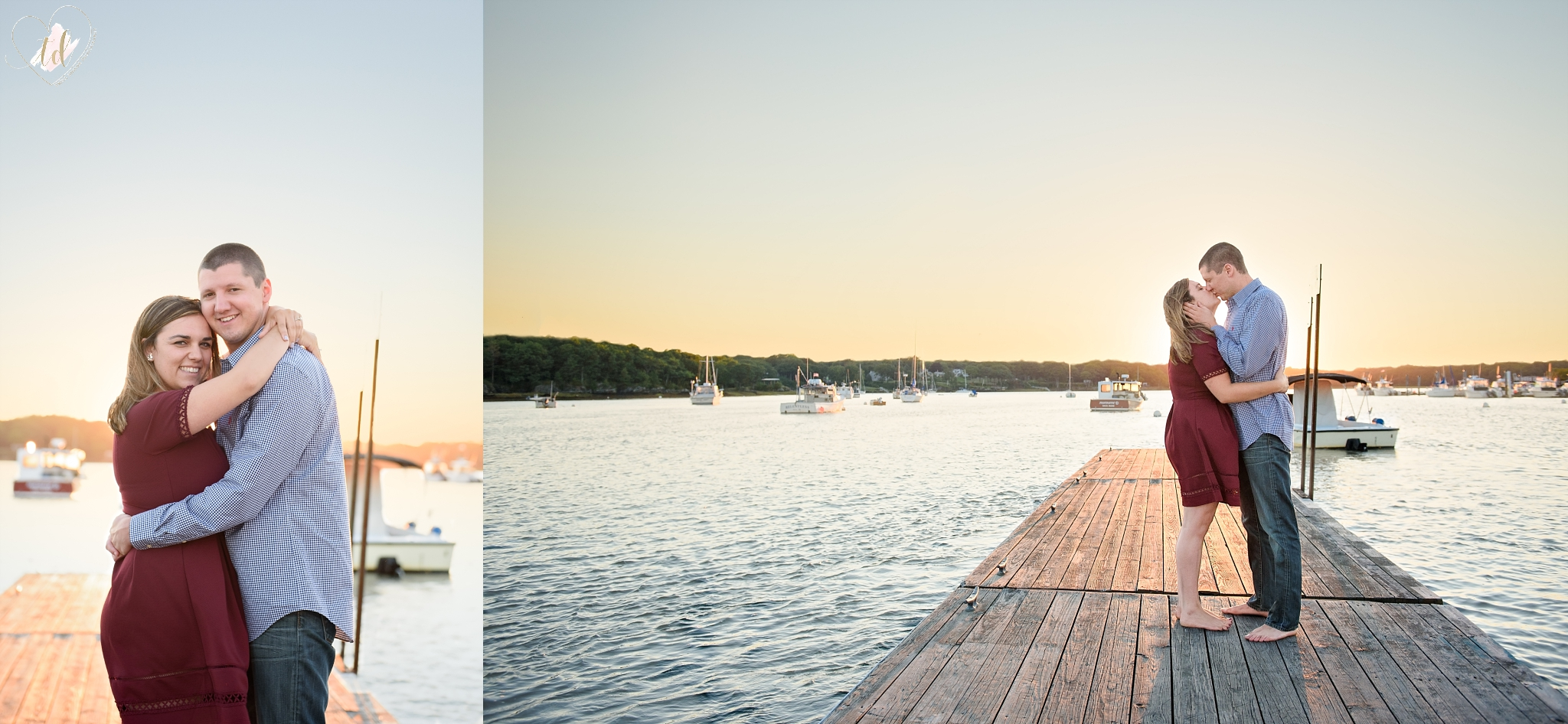 Couple poses on dock overlooking Maine beach harbor during their engagement session.