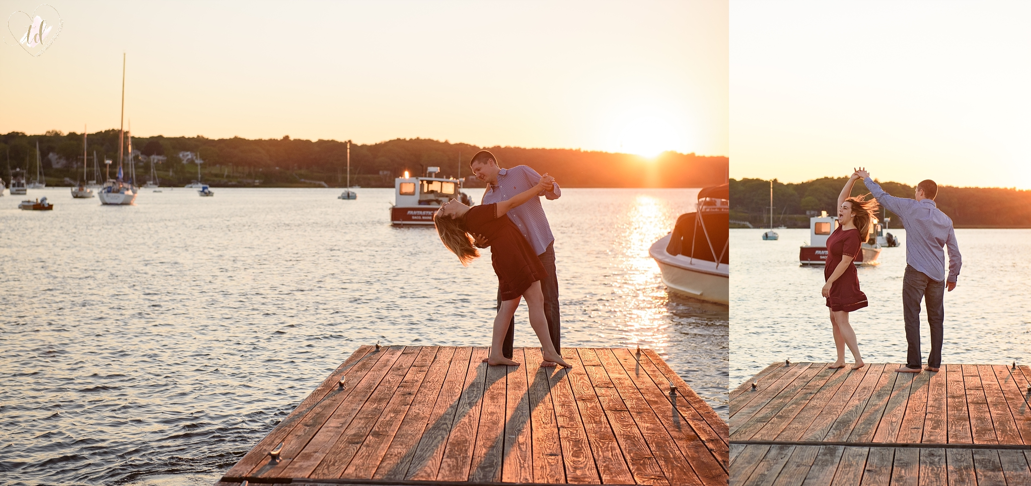 Southern Maine engagement photographer captures couple at Camp Ellis in Saco.