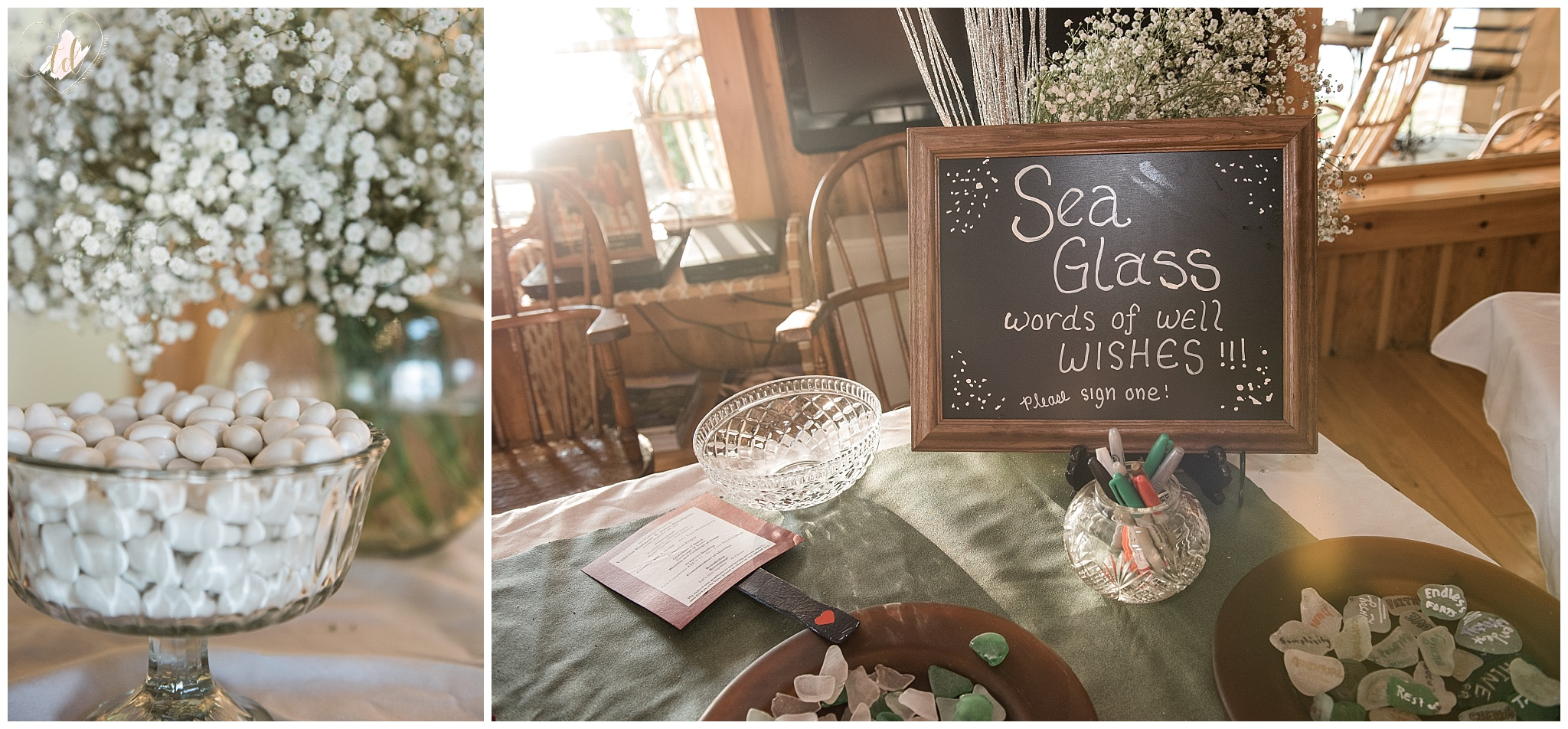 Rustic Maine wedding details sign sea glass.