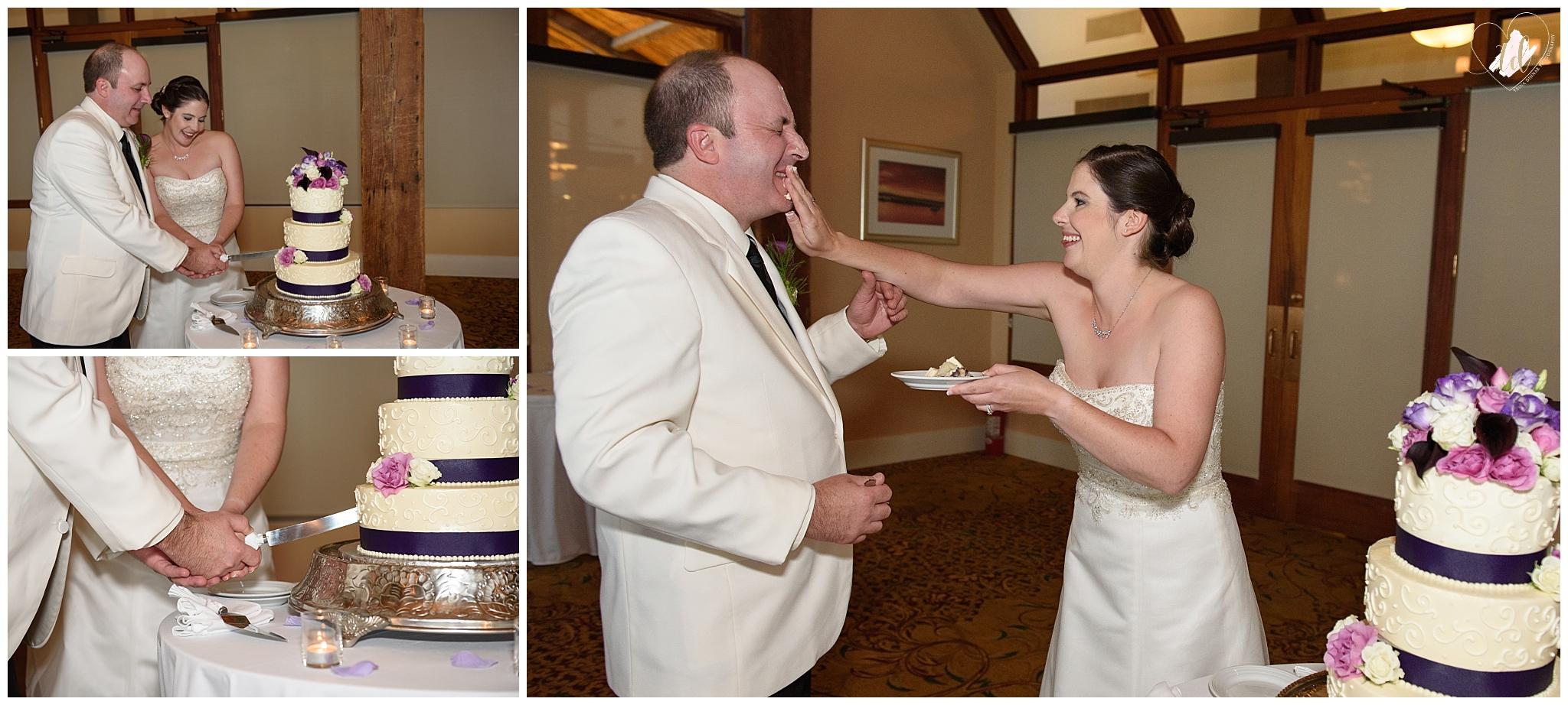 Bride and Groom cutting cake at the Samoset Resort.