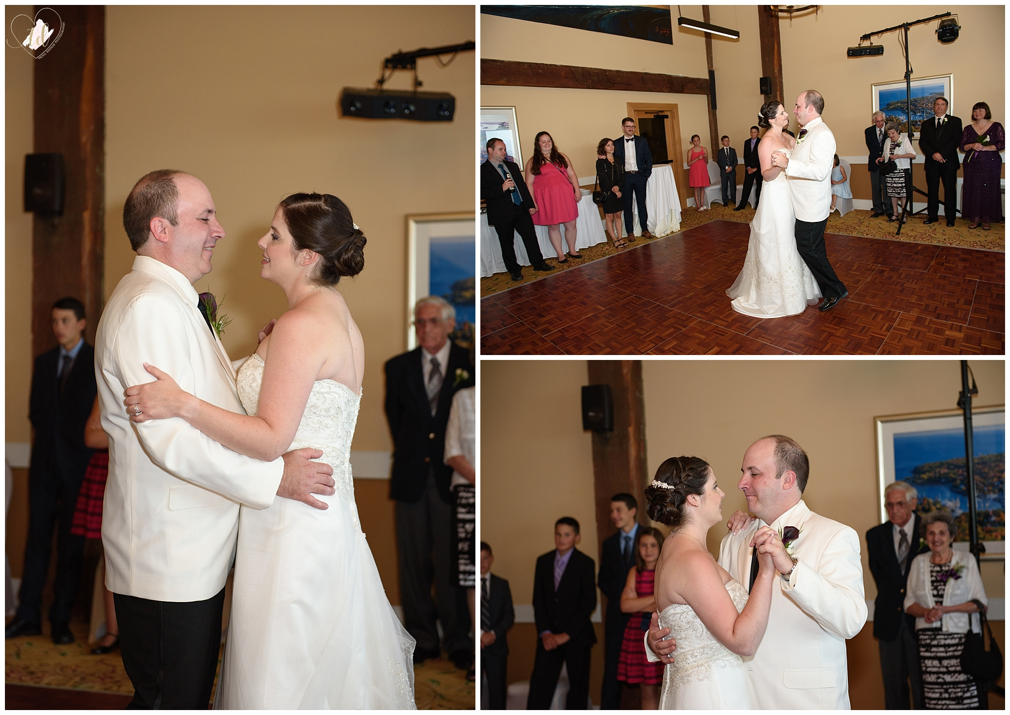 The bride and groom share their first dance at their Rockport Maine wedding.