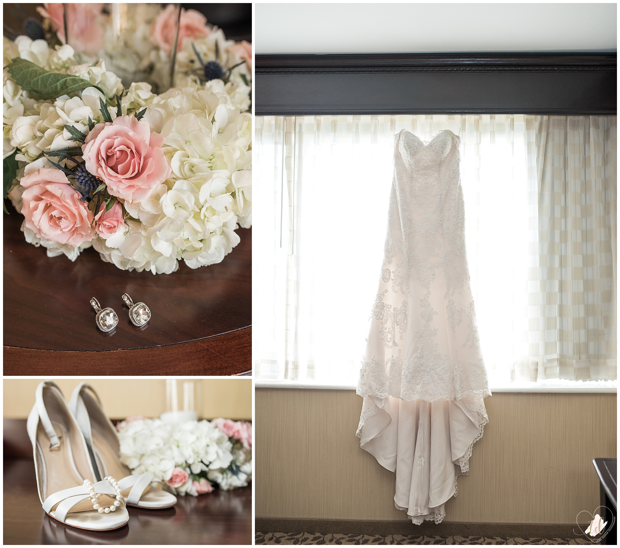 Bride's wedding dress and accessories at the Marriott.