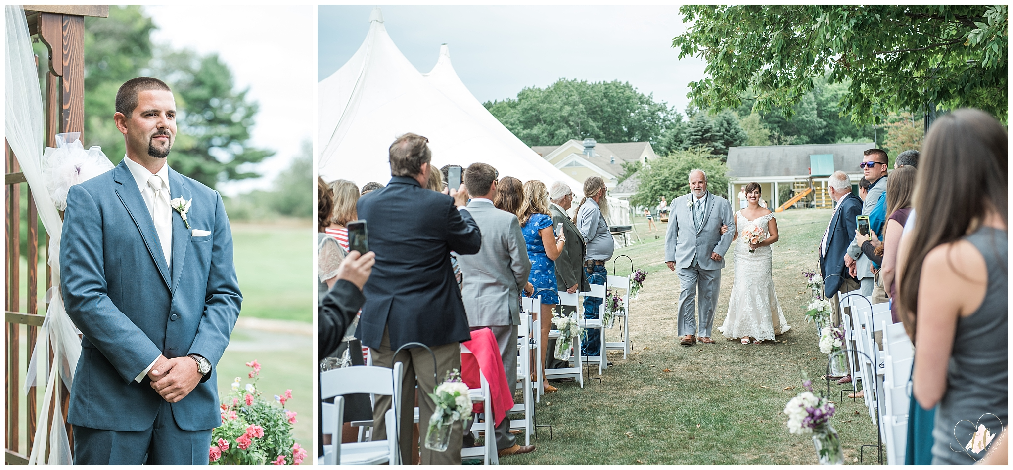 Groom watches bride walk down aisle with her father.