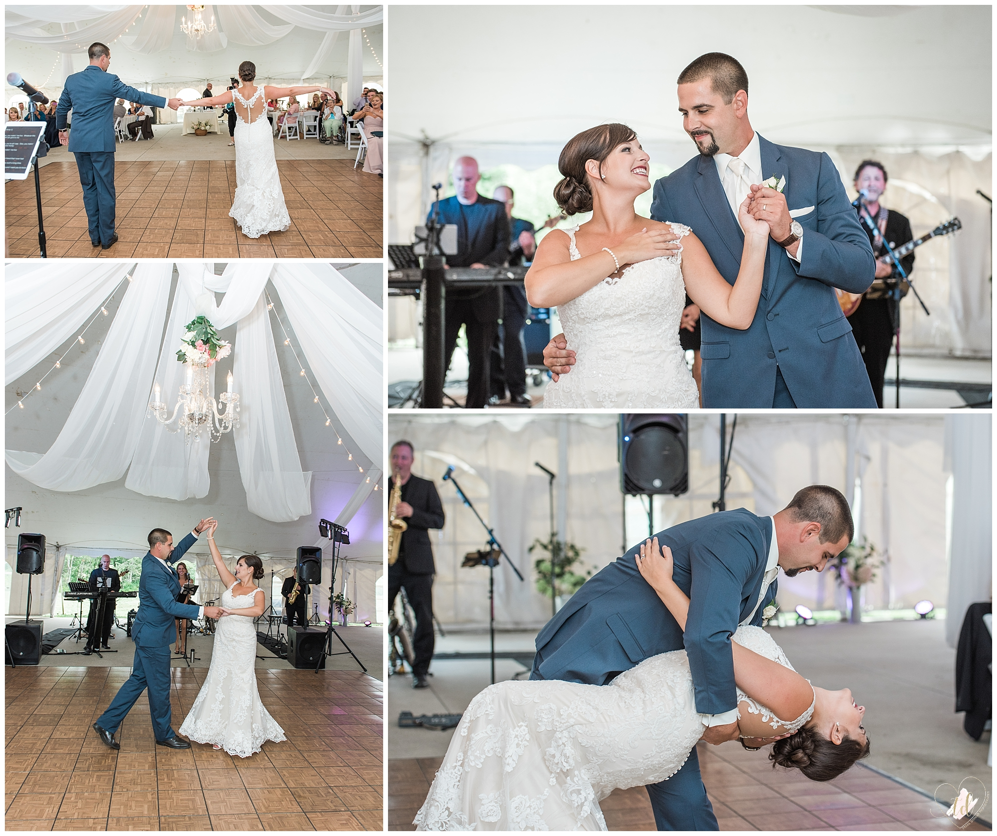 Bride and Groom share their first dance at the Falmouth County Club.