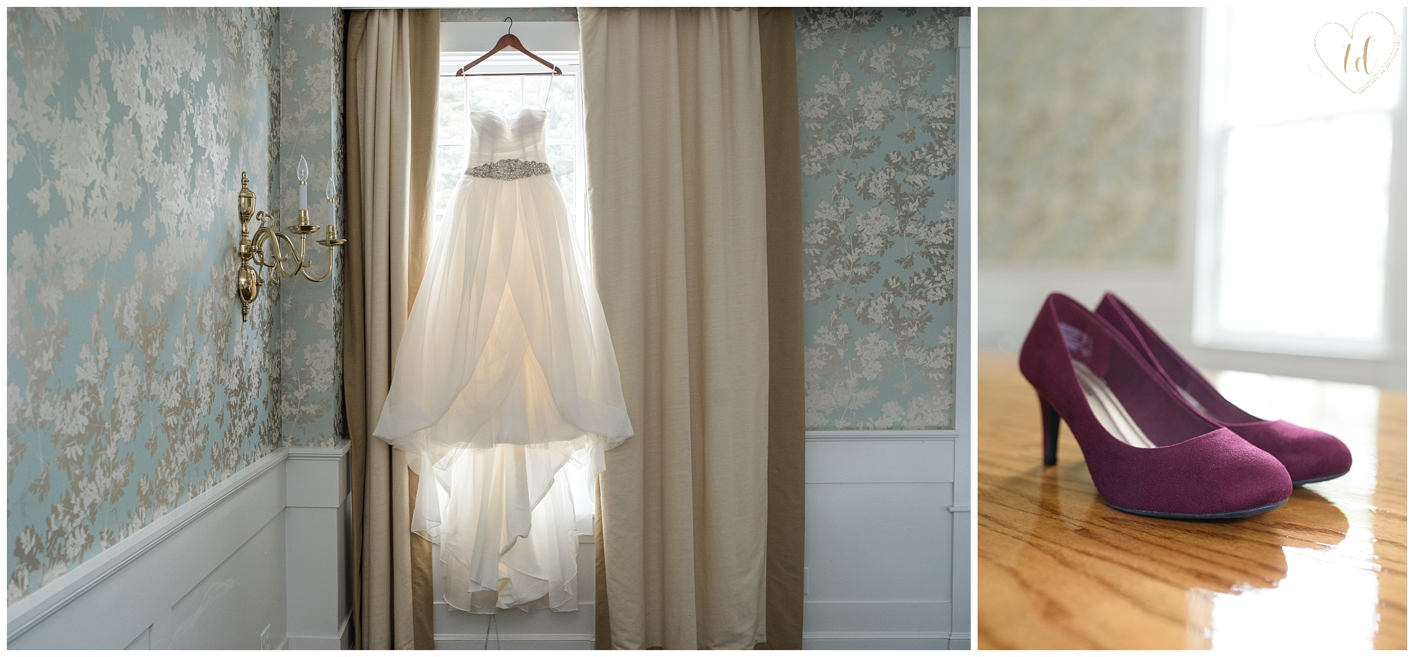 Wedding dress and shoes from a Kennebunk, Maine wedding.