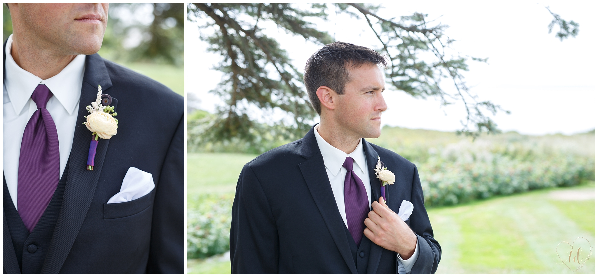 Portraits of a Maine groom on his wedding day.