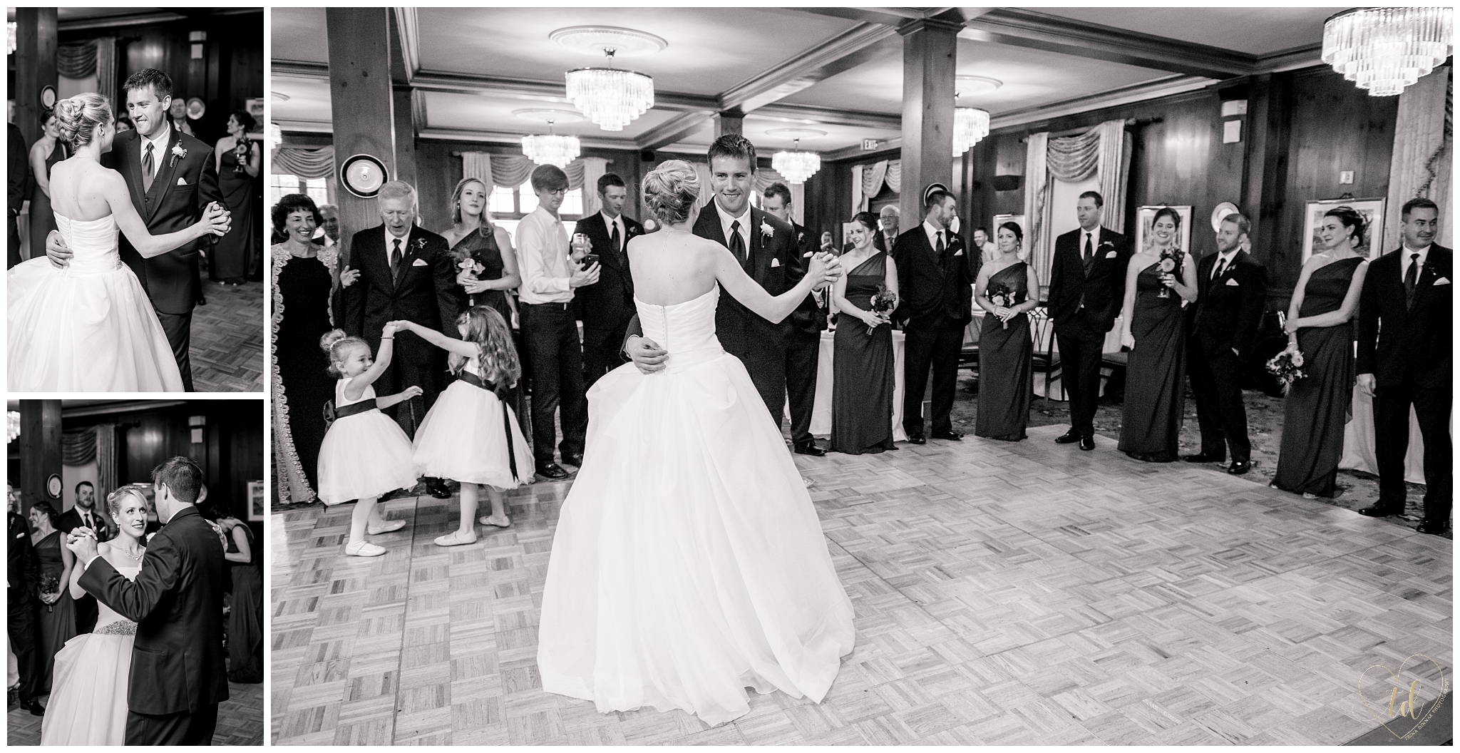 Bride and Groom's First Dance in Black and White Photography.