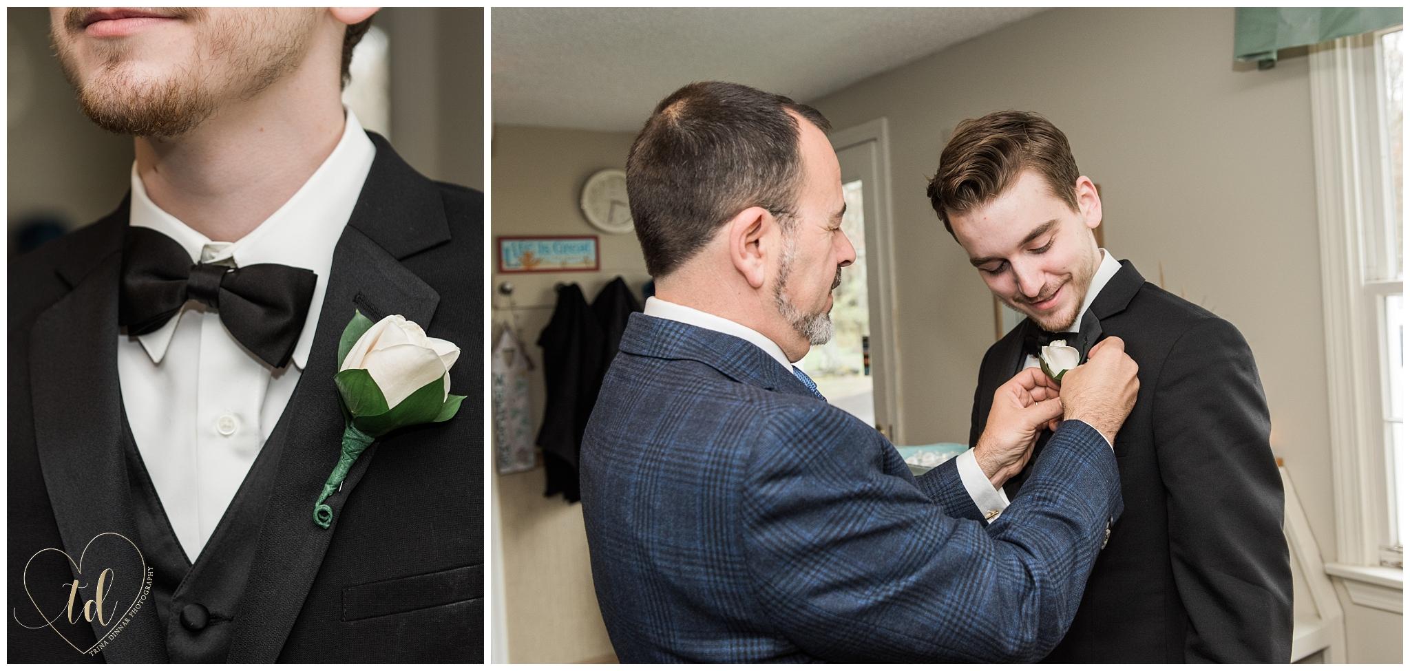 Groom prepares for his Kennebunkport Maine wedding.