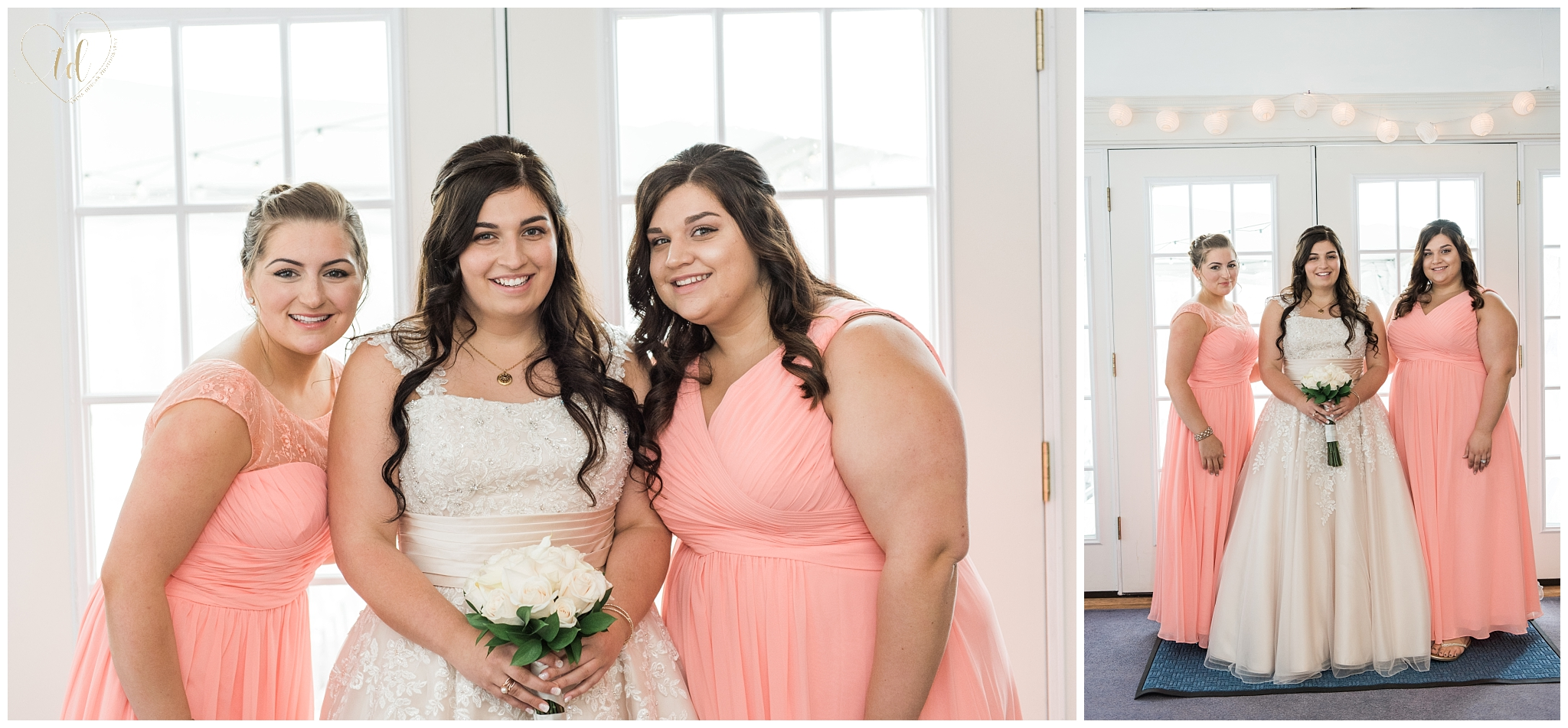 Bride and Bridesmaid wedding portrait photography in Maine.
