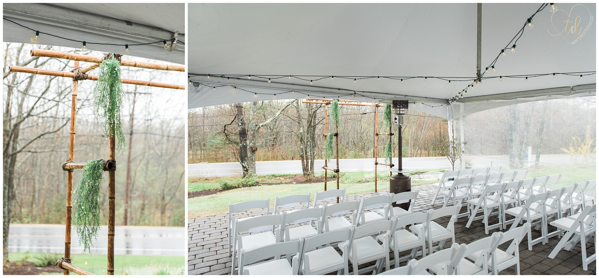 Outdoor tented Maine wedding ceremony in Kennebunkport.
