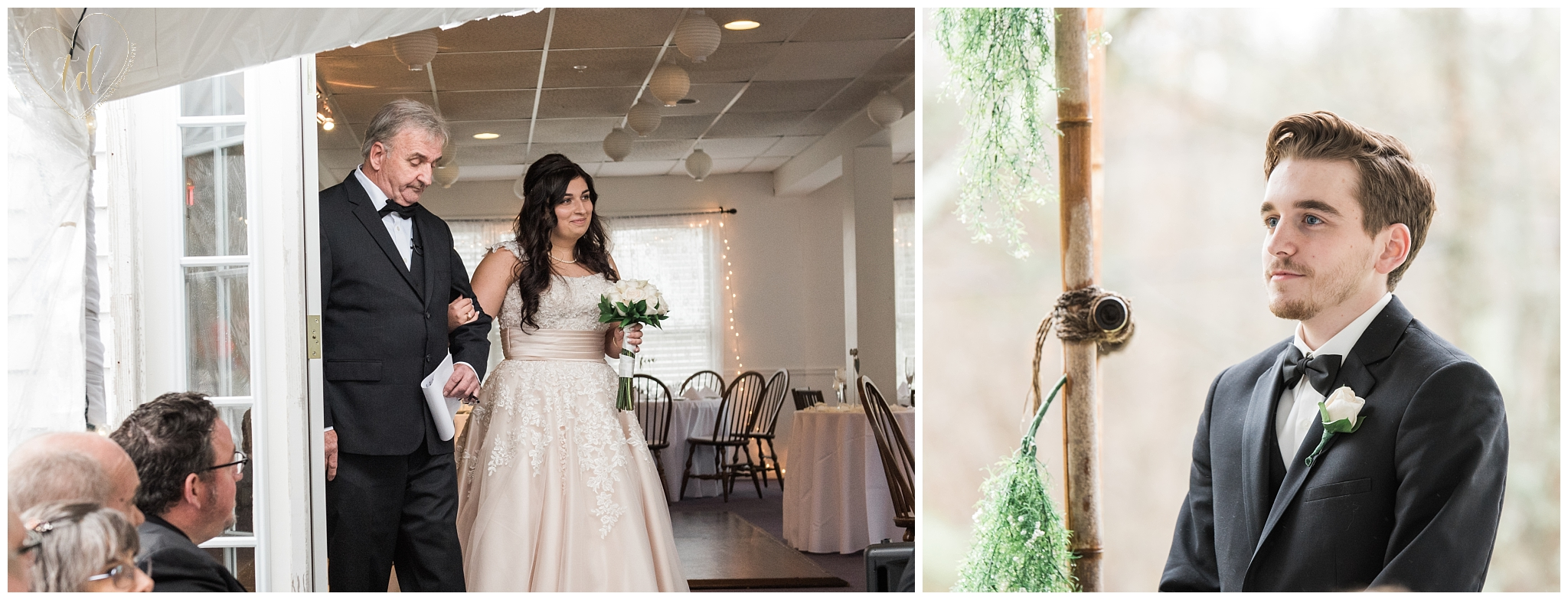Groom sees bride for the first time at wedding ceremony.