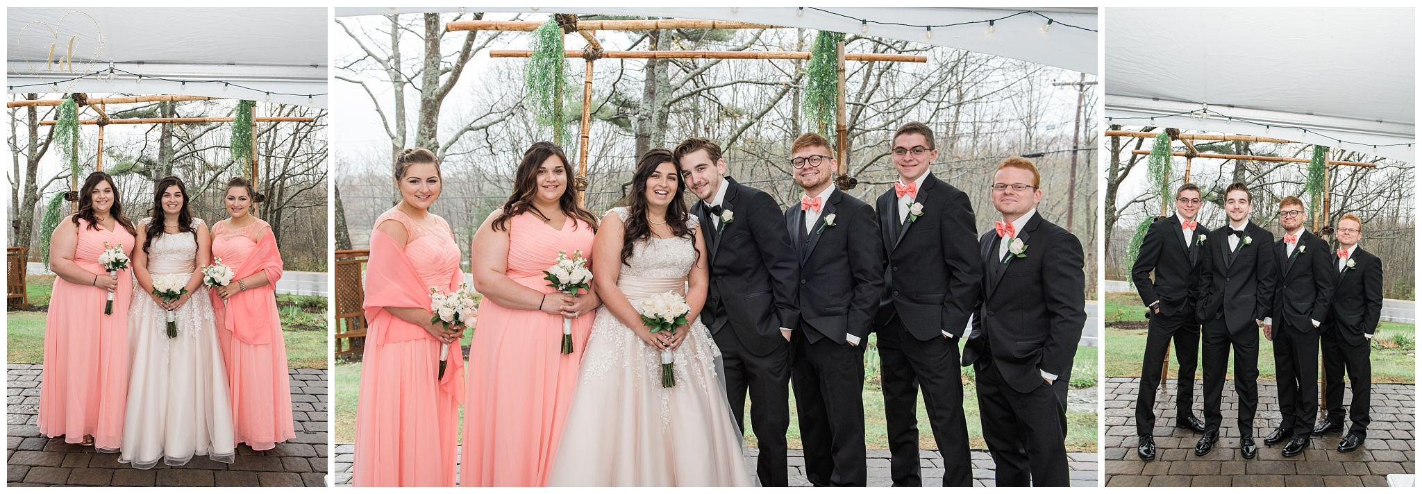 Wedding party portraits in Maine